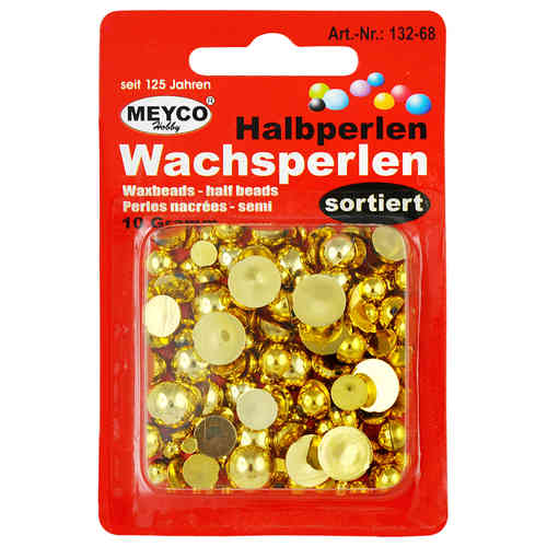 Wachsperlen Halbperlen Set 10 g gold