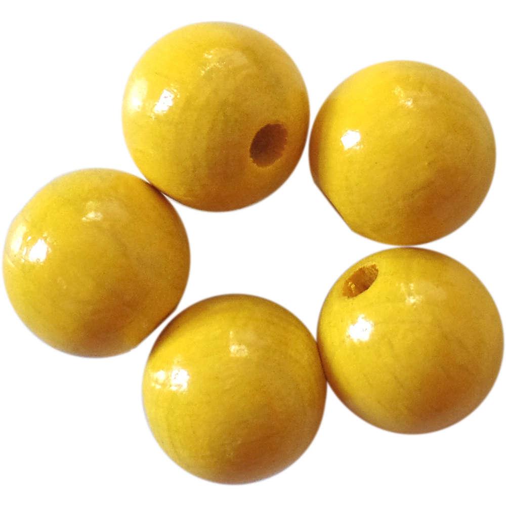 50 Holzperlen 10 mm Gelb